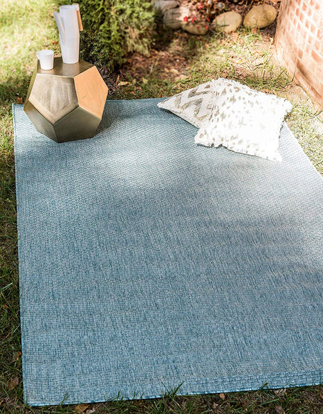 7192 Aquamarine Solid Color Indoor-Outdoor Area Rugs