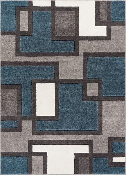 6086 Blue Carved Geometric Contemporary Area Rugs