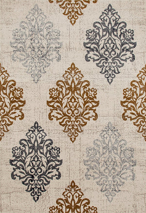 3806 Gold Beige Damask Distressed Area Rugs