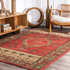 9357 Red Tribal Oriental Area Rugs