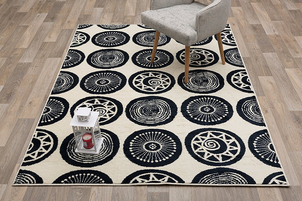 2909 Navy Blue Medallion Contemporary Area Rugs