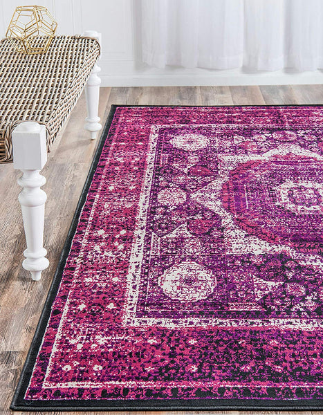 5135 Lilac Medallion Distressed Oriental Area Rugs