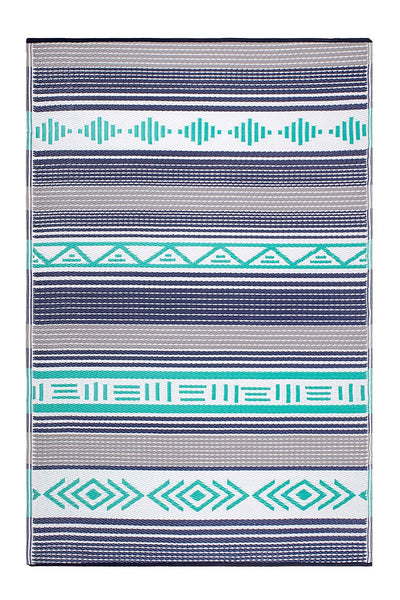 7128 Green Multi Reversible Outdoor/Indoor Area Rugs