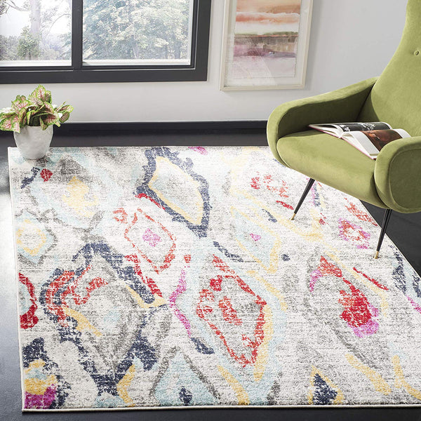 0105 Gray Multi Color Diamond Design Contemporary Area Rugs