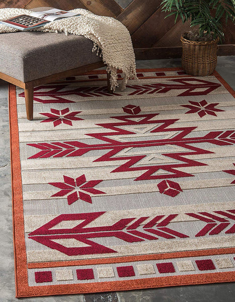 7146 Burgundy Outdoor-Indoor Carved Southwestern Area Rugs