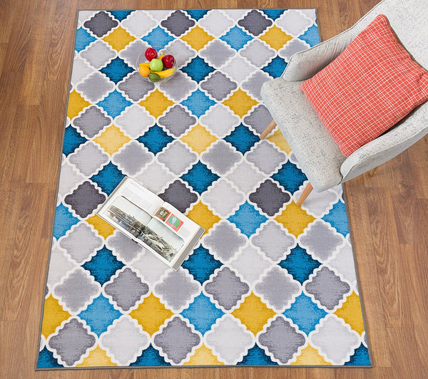 3808 Teal Gray Trellis Contemporary Area Rugs