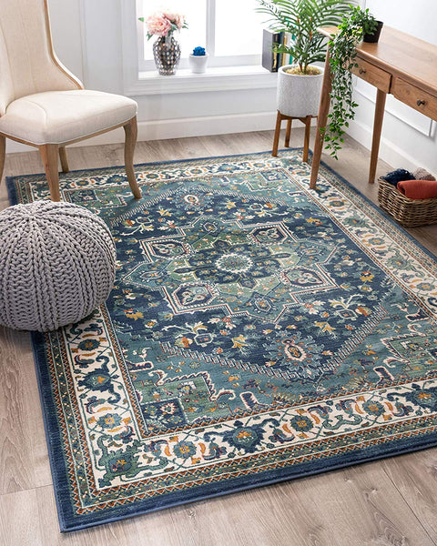 2939 Blue Persian Medallion Area Rugs