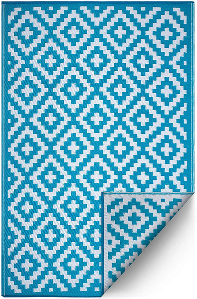 7101 Teal 100% Recycled Outdoor Area Rugs