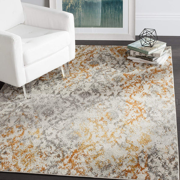 0112 Orange Ivory Distressed Bohemian Area Rugs