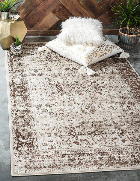 5124 Ivory Distressed Vintage Oriental Area Rugs
