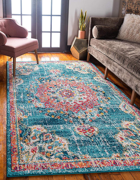 9319 Blue Oriental Distressed Area Rugs