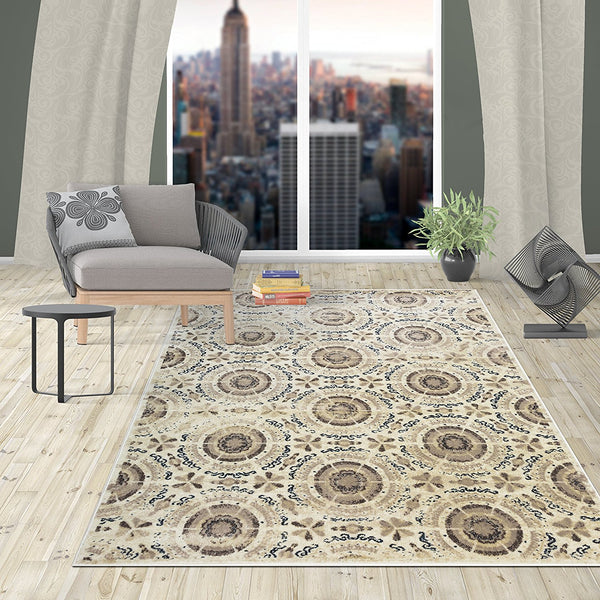 2912 Ivory Medallion Contemporary Area Rugs