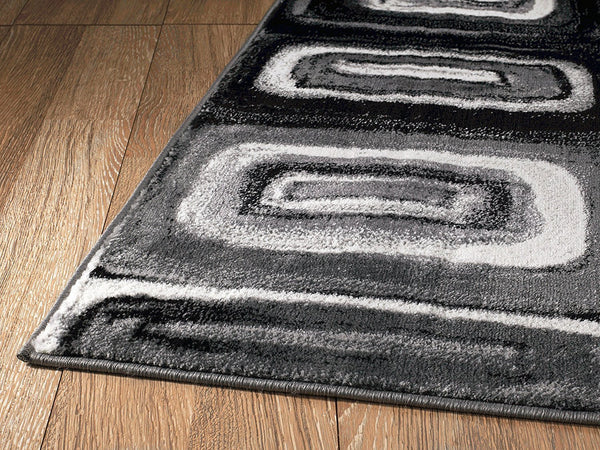 2058 Gray Black Contemporary Area Rugs