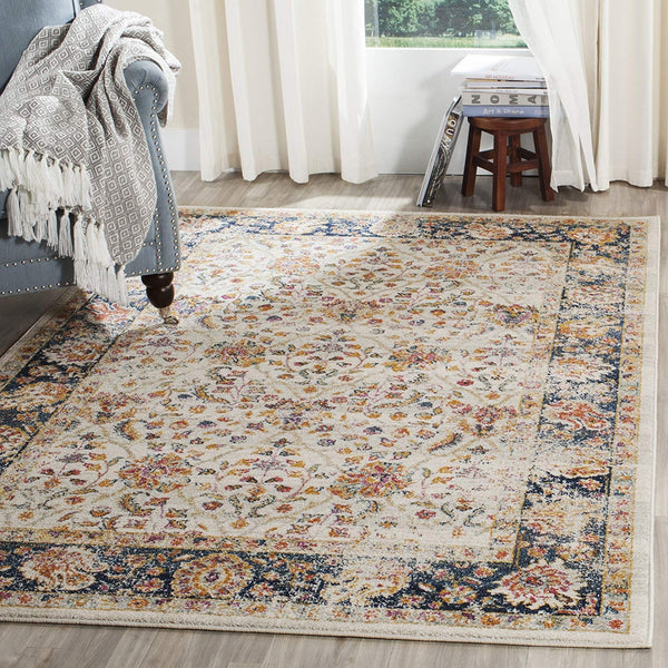 0121 Ivory Navy Blue Bohemian Distressed Oriental Area Rugs