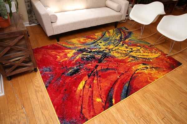 Radiance Red Colorful Abstract Contemporary Area Rugs