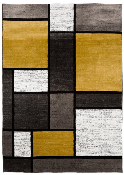 3803 Yellow Gray Contemporary Area Rugs