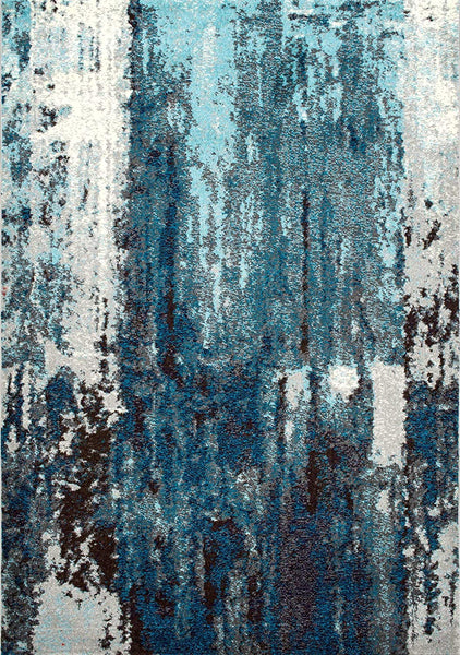 9939 Blue Abstract Contemporary Area Rugs