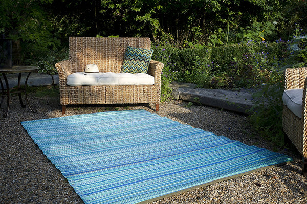 7111 Turquoise Recycled Indoor/Outdoor Area Rugs