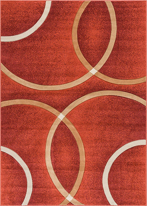 6083 Orange Circles Carved Contemporary Area Rugs