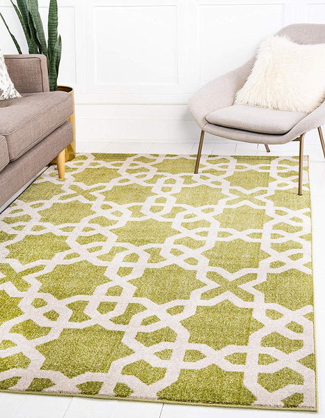 9720 Green Moroccan Trellis Contemporary Area Rugs