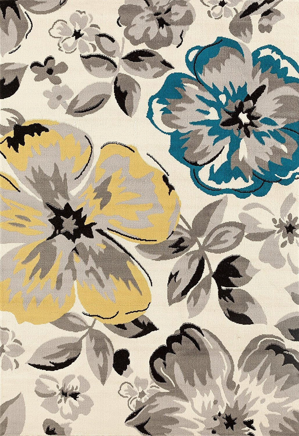 9908 ivory floral contemporary area rugs