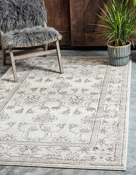 5115 Ivory Distressed Oriental Area Rugs