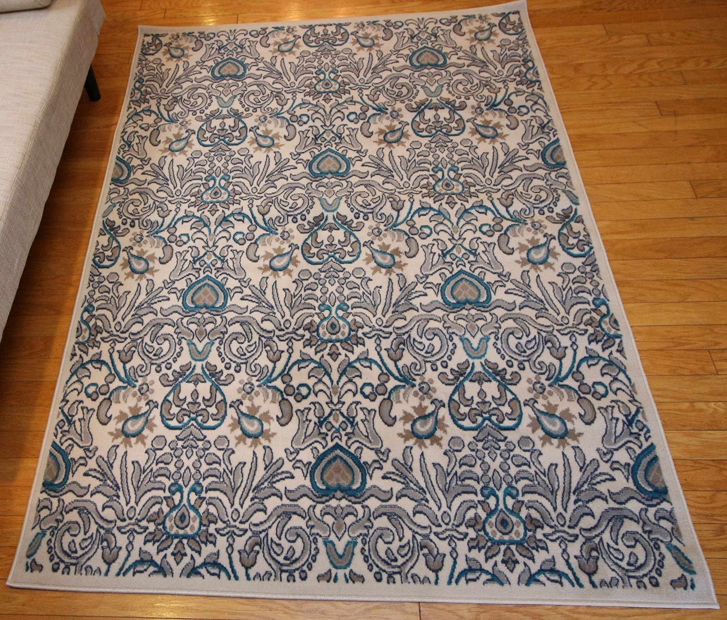... Coral Blue Silver Damask Transitional Area Rugs ...