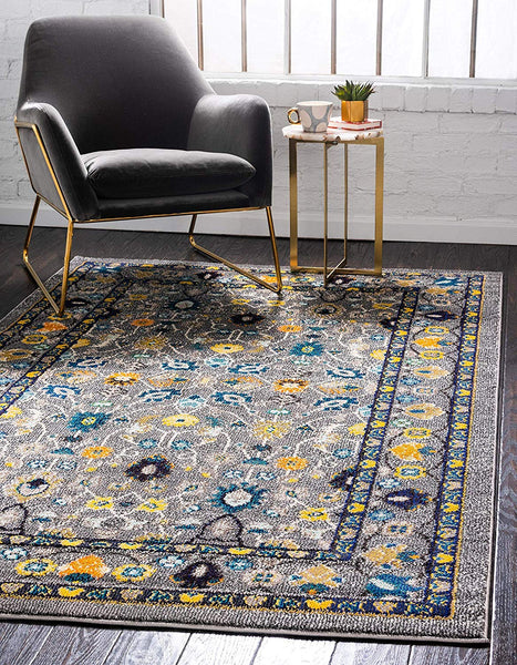 5129 Gray Yellow Oriental Area Rugs