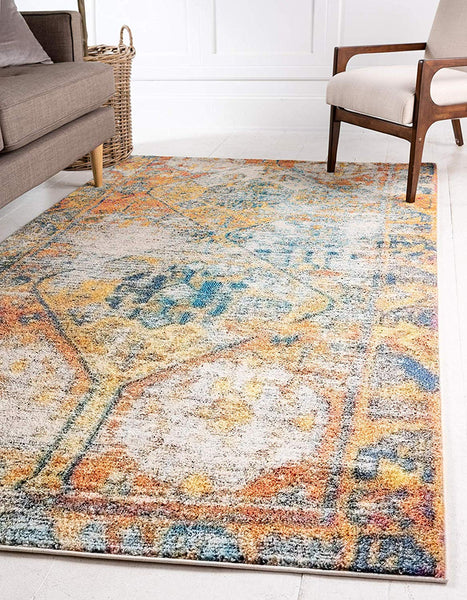 9318 Beige Oriental Distressed Area Rugs