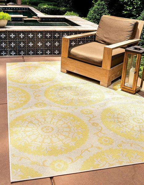 7180 Yellow Outdoor-Indoor Medallion Area Rugs