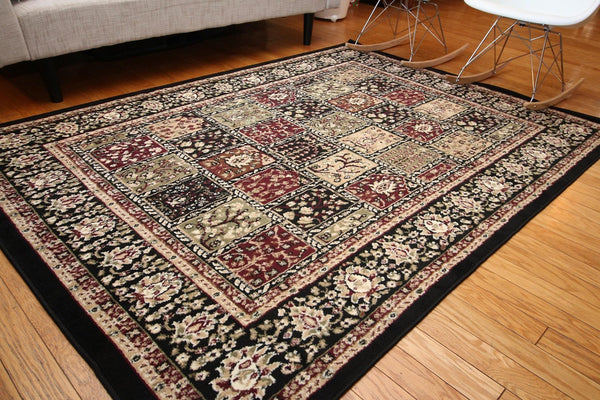 Persian Black Panels Classic Oriental Rugs | Bargain Area Rugs