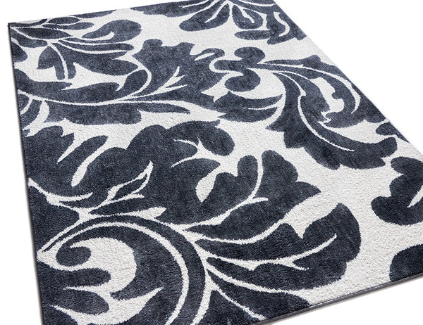 2955 Charcoal Gray White Damask Modern Area Rugs
