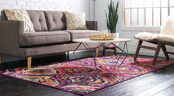 9974 Multi Color Abstract Contemporary Area Rugs