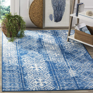 9948 Blue Modern Distressed Contemporary Area Rugs