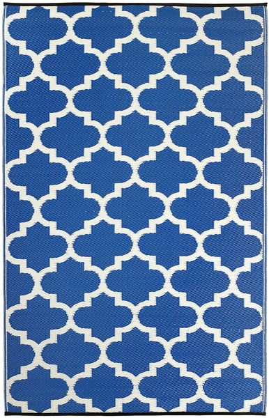 7118 Blue Trellis Reversible Outdoor/Indoor Area Rugs