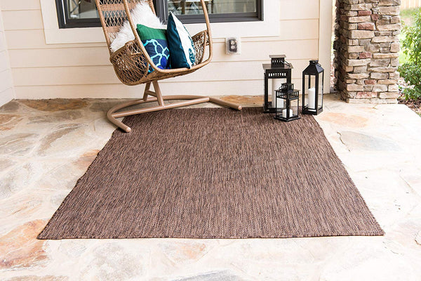 7192 Light Brown Solid Color Indoor-Outdoor Area Rugs