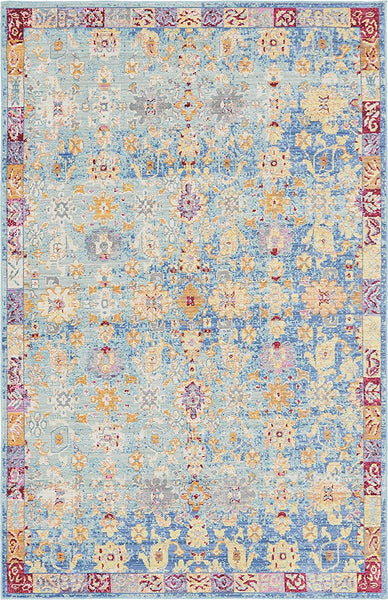 5147 Light Blue Floral Distressed Oriental Area Rugs