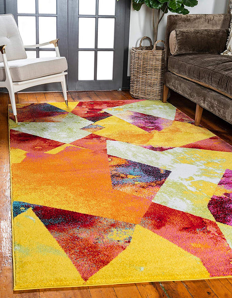 9927 Multi-Color Abstract Modern Contemporary Area Rugs