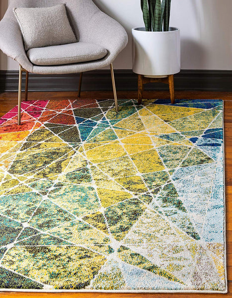 9921 Multi-Color Abstract Contemporary Area Rugs