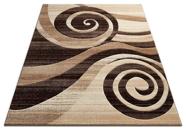 6089 Brown Swirls Carved Contemporary Area Rugs