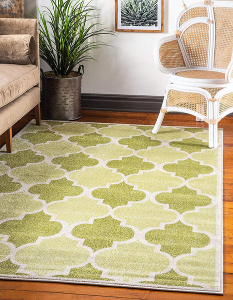 9719 Green Moroccan Trellis Contemporary Area Rugs