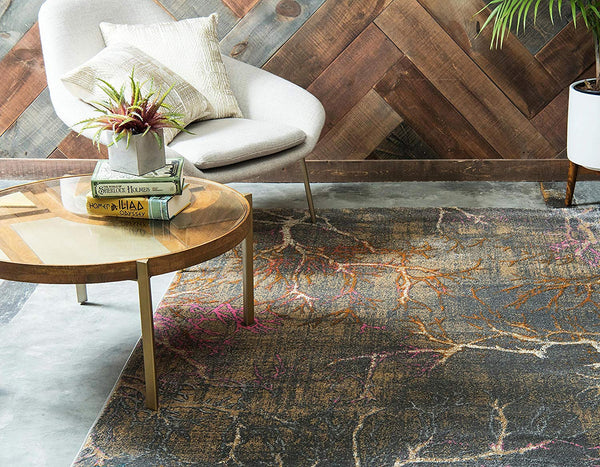 0140 Gray Branches Design Distressed Contemporary Area Rugs