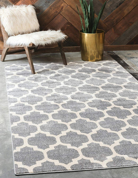 9950 Dark Gray Trellis Area Rugs