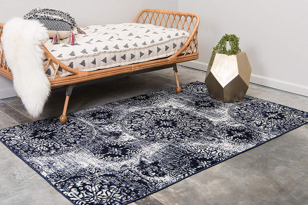 5098 Navy Blue Distressed Oriental Area Rugs