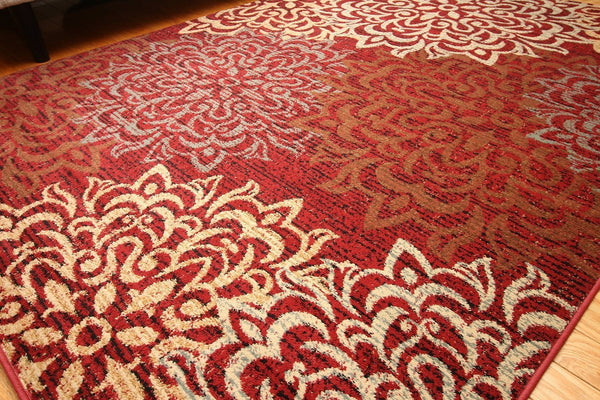 Red Beige Abstract Transitional Area Rugs