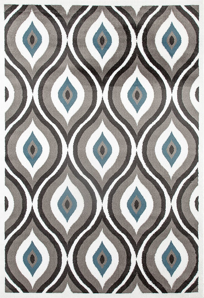 2922 Gray-Blue Peacock Contemporary Area Rugs