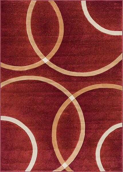 6083 Red Circles Carved Contemporary Area Rugs
