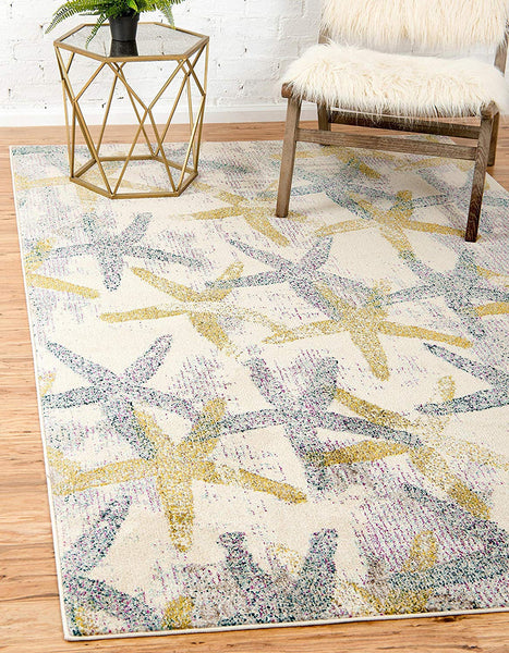 0162 Beige Starfish Design Contemporary Area Rugs