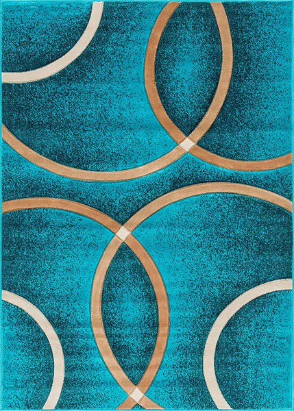 6083 Turquoise Circles Carved Contemporary Area Rugs