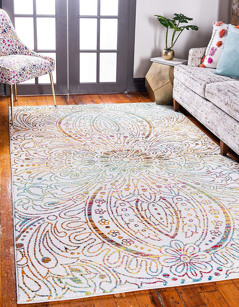 9706 Ivory Abstract Contemporary Area Rugs